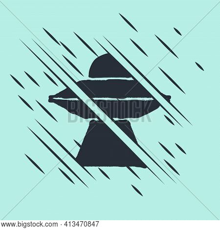 Black Ufo Flying Spaceship Icon Isolated On Green Background. Flying Saucer. Alien Space Ship. Futur