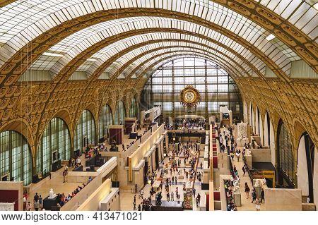 June 16, 2015: Musee Dorsay Clock, Victor Laloux, Main Hall Of Musee Dorsay In Paris, France, On The