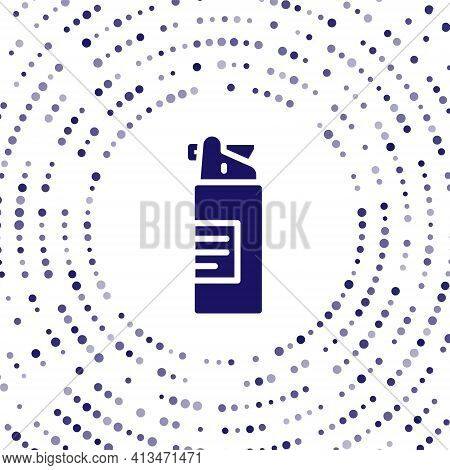 Blue Weapons Oil Bottle Icon Isolated On White Background. Weapon Care. Abstract Circle Random Dots.