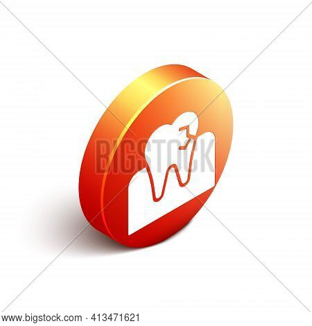 Isometric Tooth With Caries Icon Isolated On White Background. Tooth Decay. Orange Circle Button. Ve
