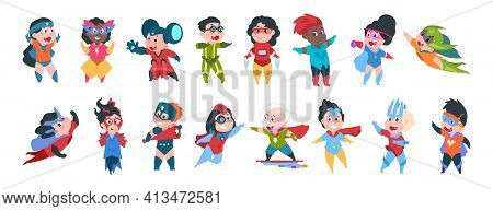 Superhero Boys And Girls Characters. Cartoon Kids In Super Hero Costumes. Funny Children Standing In
