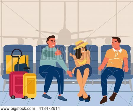 People In Airport. Men And Woman Sitting With Luggage In Vestibule. Young Characters Talking. Touris