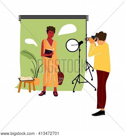 Cartoon Model At Photo Studio. Vector Professional Photographer Occupation, Man Taking Pictures With