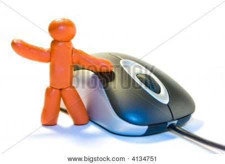 Plasticine man and computer mouse on white background poster