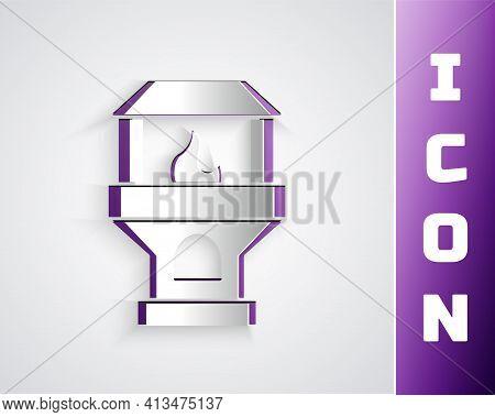 Paper Cut Brick Stove Icon Isolated On Black On Purple Background. Brick Fireplace, Masonry Stove, S