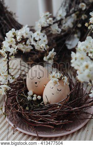 Happy Easter Background. Easter Eggs On Nest