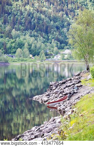 Summer Norway Landscape With Shore Of Fjord And Mountain Forest