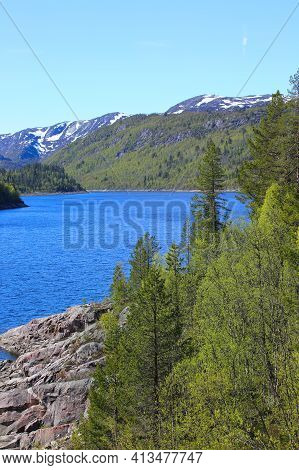 Summer Norway Landscape With Forest Mountains And Fjord
