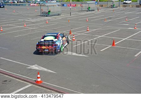 Racing Car Drifting On The Improvised Track, At A Local Rally Contest. Picture Taken In Constanta, R