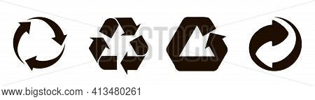 Set Of Black Recycling Signs, Arrow Icons Isolated On White. Recycling Environmental Symbols. Recycl