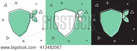 Set Vandal Icon Isolated On White And Green, Black Background. Vector
