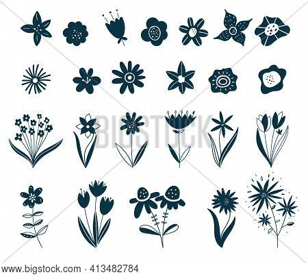 Scandinavian Flower Elements. Doodle Plants, Leaves Flowers And Branches Vector Set. Wildflowers. Fl