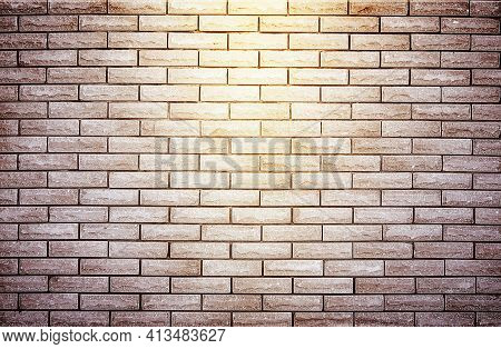 Brick Wall With Spotlight, Texture Background, Wallpaper. Empty Scene Background. Background Of Old