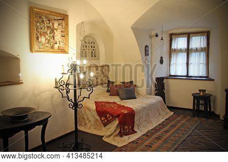 Bran Castle, In Bran, Romania On 16.04.2016. Interior Design Of Bran Castle In Transylvania, Also Kn