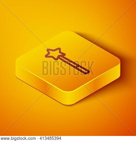 Isometric Line Magic Wand Icon Isolated On Orange Background. Star Shape Magic Accessory. Magical Po
