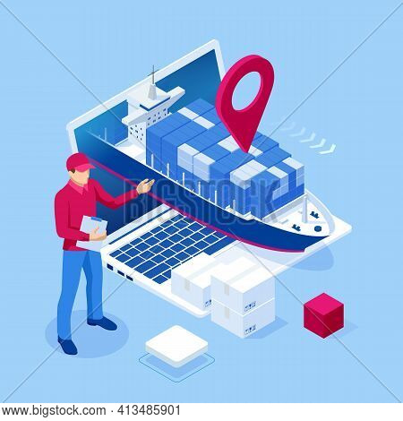 Isometric Logistics And Delivery Sea Freight. Freight Transportation, Shipping, Nautical Vessel, Con