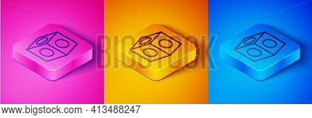 Isometric Line Billiard Chalk Icon Isolated On Pink And Orange, Blue Background. Chalk Block For Bil