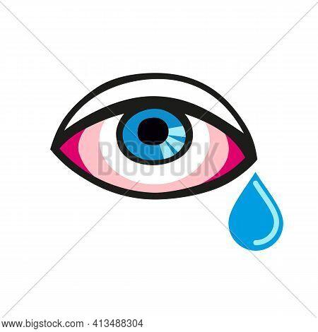 Eye With A Single Tear. Crying Eye Turn Red. Eyes Deseases. Allergic Eye.