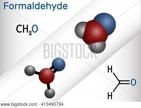 Formaldehyde, Methanol, Methylene Oxide, Methylaldehyde, Oxomethane Molecule. It Is Simplest Of Alde