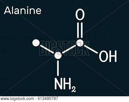 Alanine, L-alanine, Ala, A Molecule. It Is Non-essential Amino Acid. Structural Chemical Formula. Sk