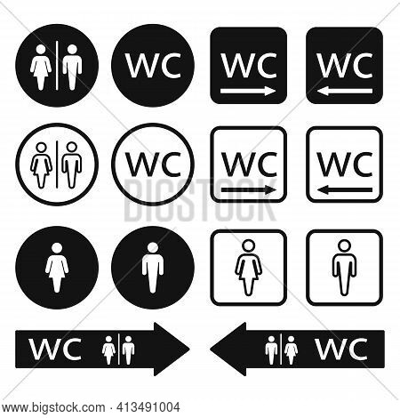 Wc Toilet Icons Set. Men And Women Wc Signs For Restroom. Wc Direction Arrow Symbol Vector Illustrat