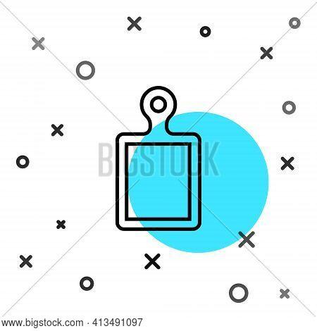 Black Line Cutting Board Icon Isolated On White Background. Chopping Board Symbol. Random Dynamic Sh