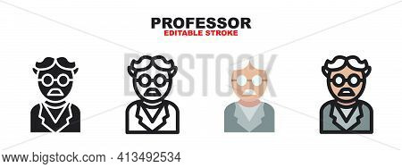 Professor Icon Set With Different Styles. Colored Vector Icons Designed In Filled, Outline, Flat, Gl