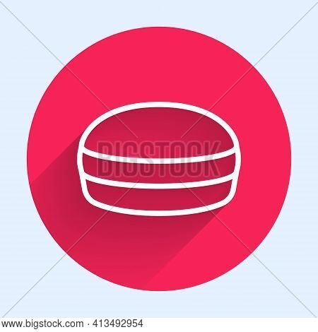 White Line Macaron Cookie Icon Isolated With Long Shadow. Macaroon Sweet Bakery. Red Circle Button.