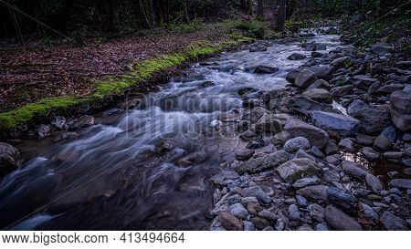 Water Flowing Over Rocks. Beauty In Nature. Long Exposure. Lausanne, Switzerland. Tranquil Scene.