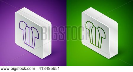 Isometric Line Cycling T-shirt Icon Isolated On Purple And Green Background. Cycling Jersey. Bicycle