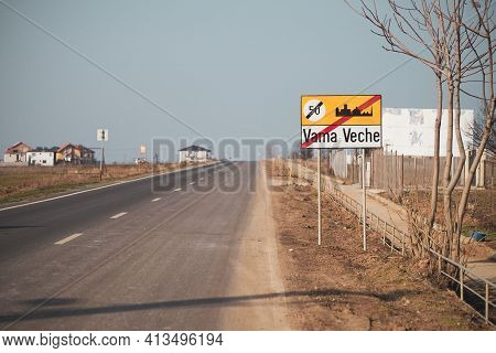 Vama Veche Resort City Borders. Exit From Vama Veche, Famous Beach Resort At Black Sea, On The Road