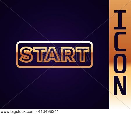 Gold Line Ribbon In Finishing Line Icon Isolated On Black Background. Symbol Of Finish Line. Sport S