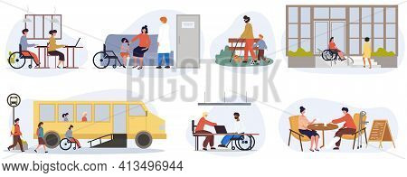 Eight Different Scenes Of Disabled Or Handicapped People Using Wheelchairs, Canes Or Crutches At Dif