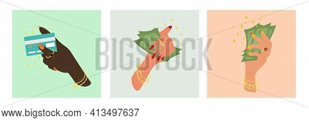 Set Of Three Female Hands Wearing Elegant Jewellery Clasping Wads Of Money Or A Bank Card In A Conce