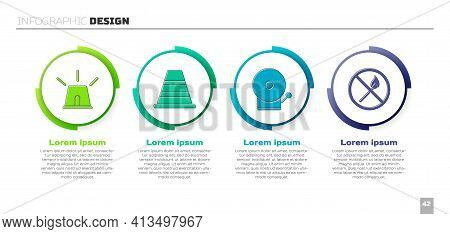 Set Flasher Siren, Traffic Cone, Ringing Alarm Bell And No Fire Match. Business Infographic Template