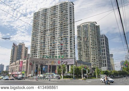 Shanghai, China. October 3, 2015.  An Intersection And Apartment Complex On The Puxi Side Of Shangha