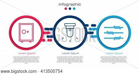 Set Line Safe, Motion Sensor And Barbed Wire. Business Infographic Template. Vector
