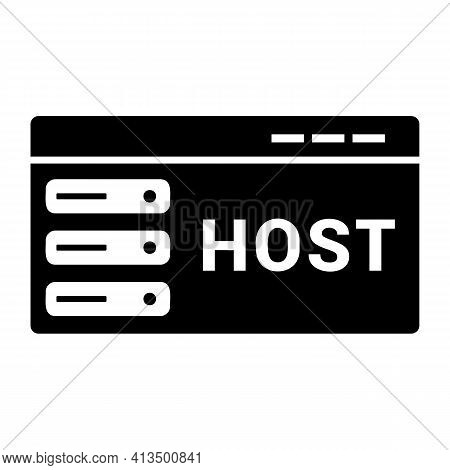 Host Icon Isolated On White Background Flat Style. Hosting Symbol For Your Web Site Design, Logo, Ap