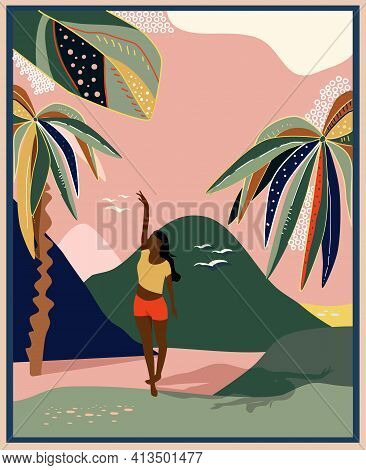 Woman Is Walking In Tropical Valley With Palms.mid Century Modern Poster With Retro Summer Backgroun