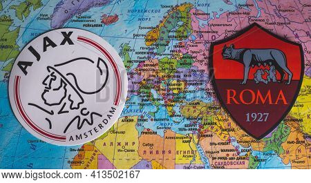 March 21, 2021, Gdansk, Poland. The Emblems Of The Participants In The Uefa Europa League Quarter-fi