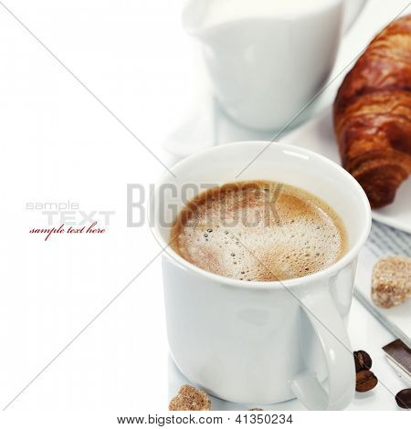 breakfast with coffee, croissant and magazine (with sample text)