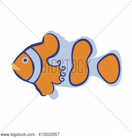 Cartoon Stylized Clown Fish. Hand-drawn Vector. Tropical Marine Animals, Inhabitants Of The Seas And
