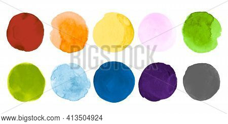 Bright Watercolor Circles Collection. Ink Creative Stain Template. Abstract Background With Dot On P