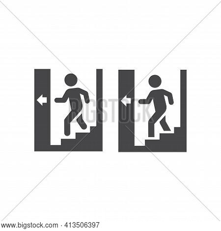 Man Going Down Stairs Black Vector Icon. Stairway With Arrow Glyph Symbol.