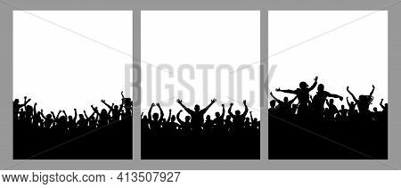 Set Of Crowds Of People, Vertical Posters. Music Or Sport Fans, Cheerful People. Vector Illustration