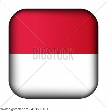 Glass Light Ball With Flag Of Monaco. Squared Template Icon. National Symbol. Glossy Realistic Cube,