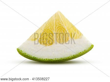 Triangular Section Of Pomelo Fruit Isolated On White Background. High Quality Retouching And Full De