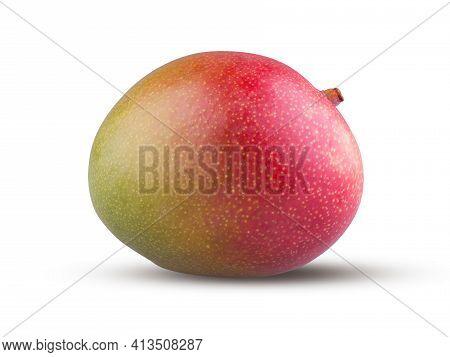 Whole Mango Isolated On White Background. Red Mango Fruit Close Up. Fresh And Tasty Sweet Exotic Fru