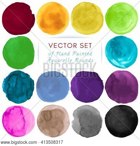 Watercolor Circle Vector. Graphic Dots Illustration. Colorful Shapes Set. Brush Stroke Watercolor Ci
