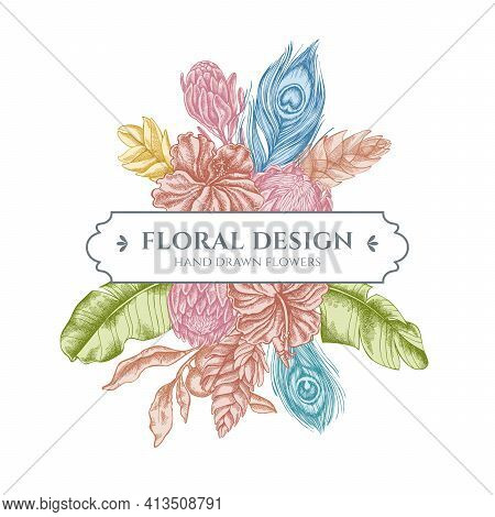 Floral Bouquet Design With Pastel Banana Palm Leaves, Hibiscus, Solanum, Bromeliad, Peacock Feathers